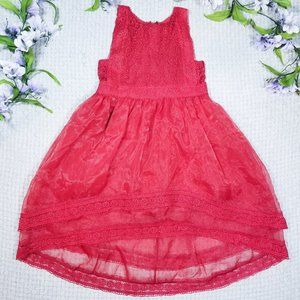 Trish Scully red lace hi-low Summer party dress